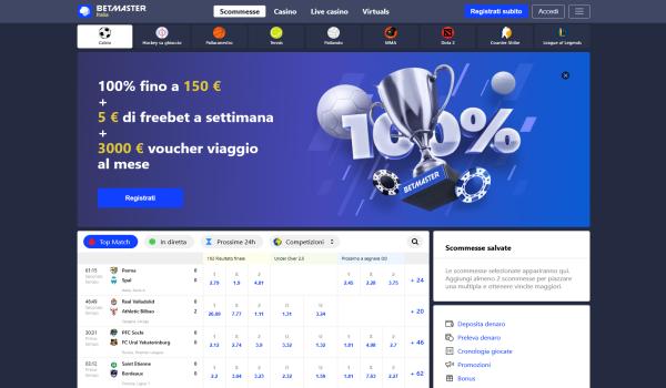 Betmaster, Betmaster Italia, Betmaster scommesse