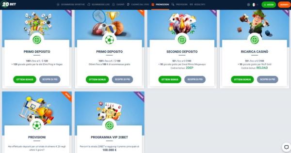 20bet bonus scommesse e casinò online